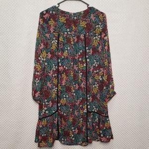 LOFT Dresses - Loft dark Floral A-line long sleeve dress size Med